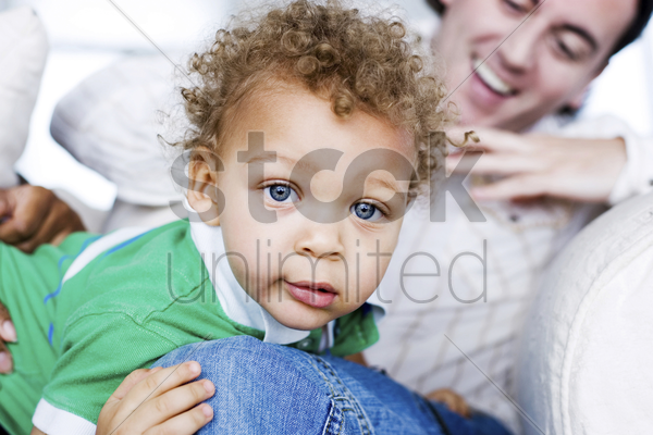 father and son spending time together stock photo