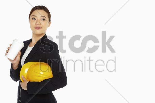 female architect having a drink stock photo