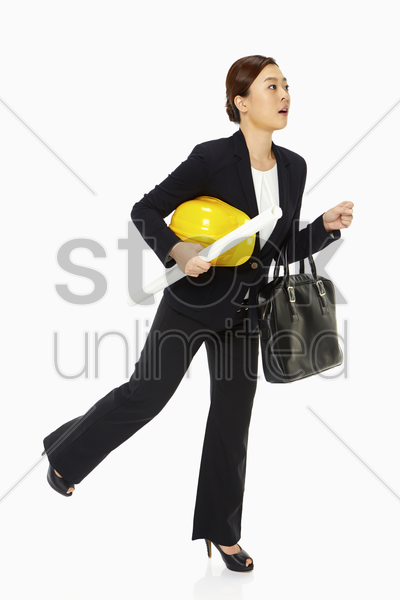 female architect on the move stock photo