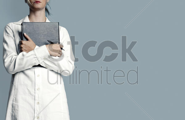 female doctor on duty stock photo