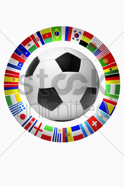 flags for representing football teams stock photo