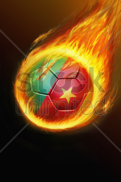 flaming cameroon soccer ball stock photo