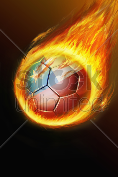 flaming chile soccer ball stock photo