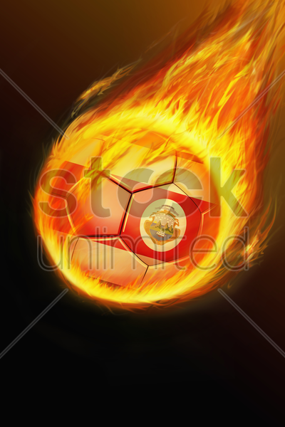 flaming costa rica soccer ball stock photo