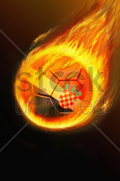flaming croatia soccer ball stock photo