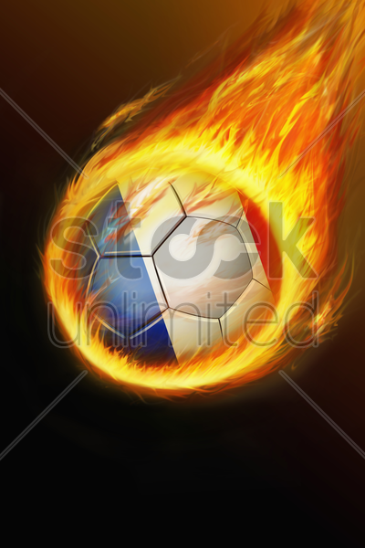 flaming france soccer ball stock photo
