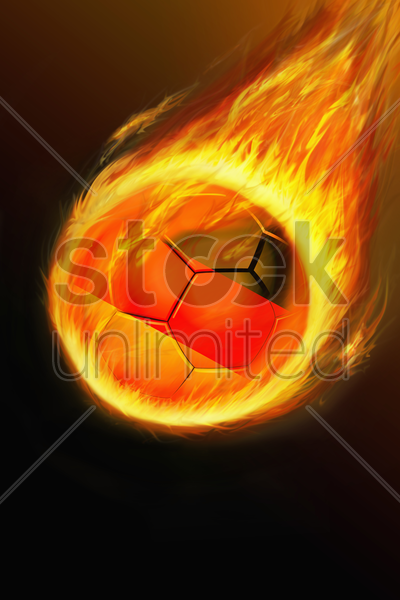 flaming germany soccer ball stock photo