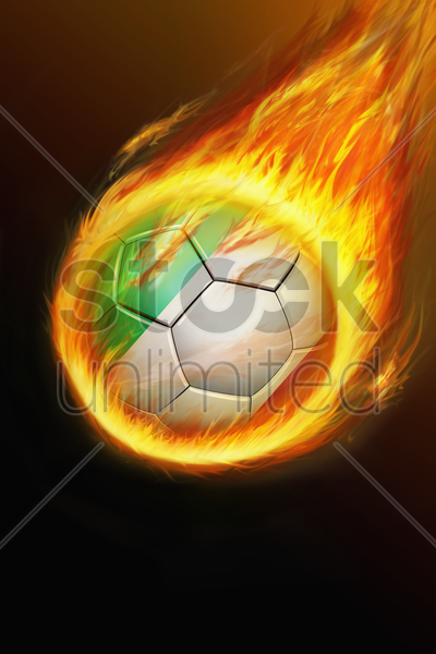flaming italy soccer ball stock photo
