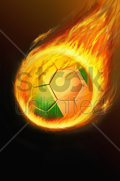 flaming nigeria soccer ball stock photo