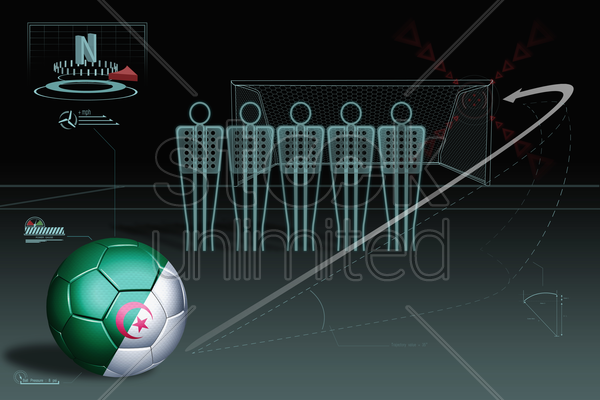 free kick infographic with algeria soccer ball stock photo