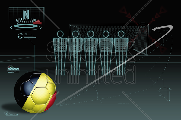 free kick infographic with belgium soccer ball stock photo