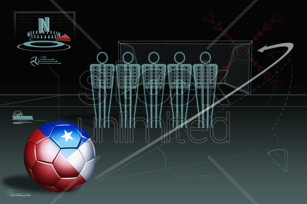 free kick infographic with chile soccer ball stock photo