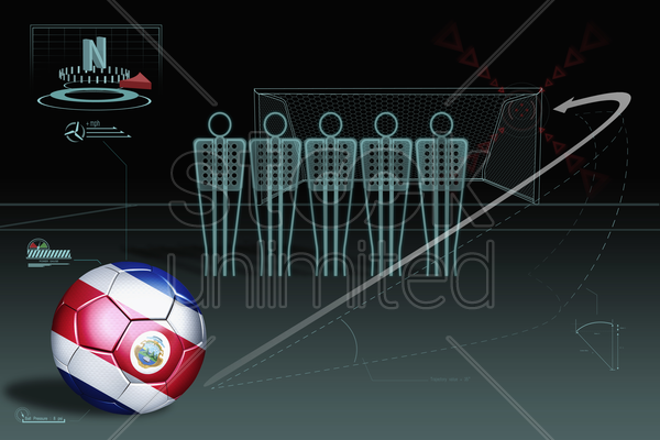 free kick infographic with costa rica soccer ball stock photo