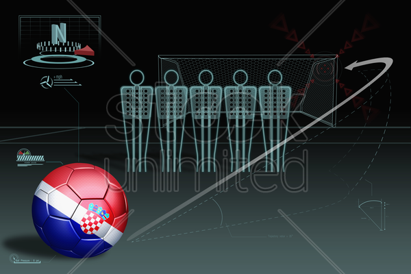 free kick infographic with croatia soccer ball stock photo