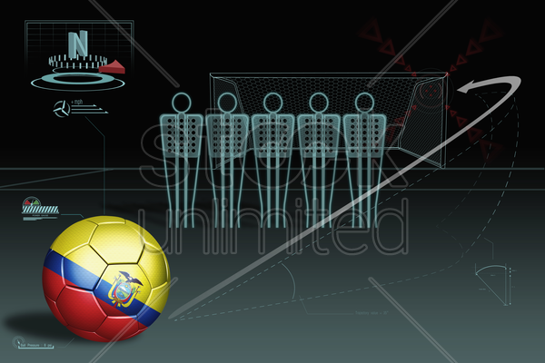free kick infographic with ecuador soccer ball stock photo