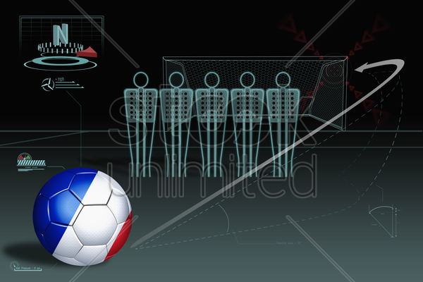 free kick infographic with france soccer ball stock photo