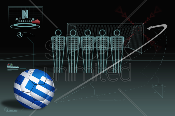 free kick infographic with greece soccer ball stock photo
