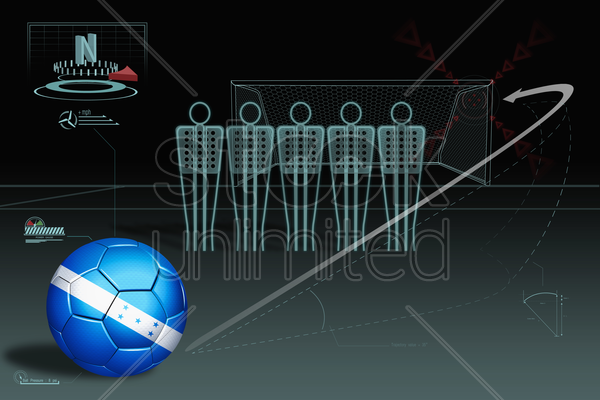 free kick infographic with honduras soccer ball stock photo