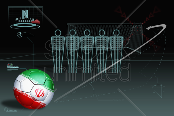 free kick infographic with iran soccer ball stock photo