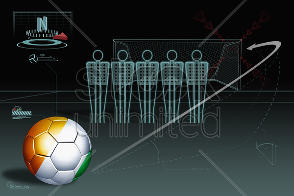 free kick infographic with ivory coast soccer ball stock photo
