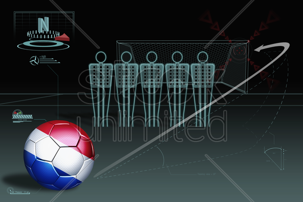 free kick infographic with netherlands soccer ball stock photo