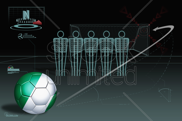free kick infographic with nigeria soccer ball stock photo