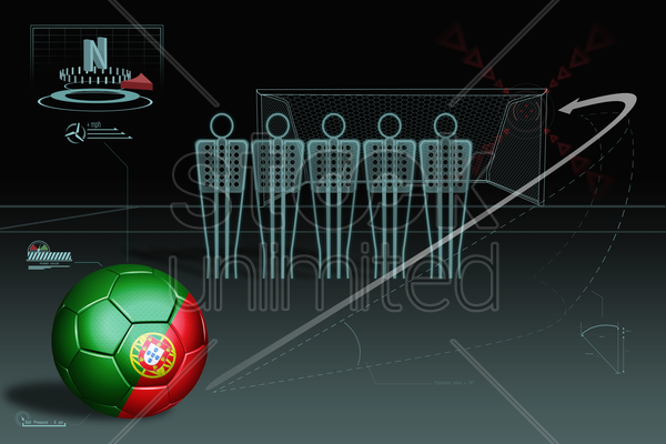 free kick infographic with portugal soccer ball stock photo
