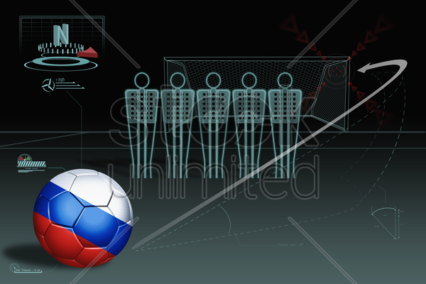 free kick infographic with russia soccer ball stock photo