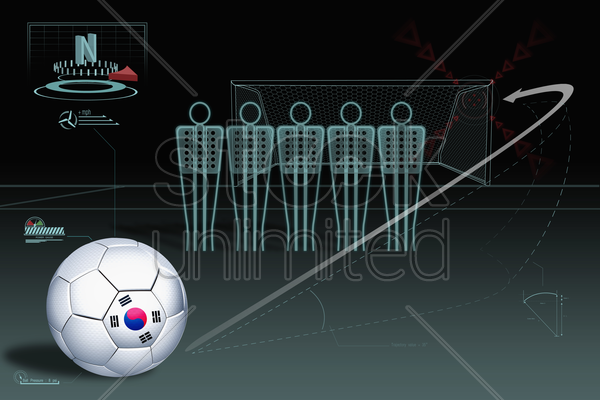 free kick infographic with south korea soccer ball stock photo