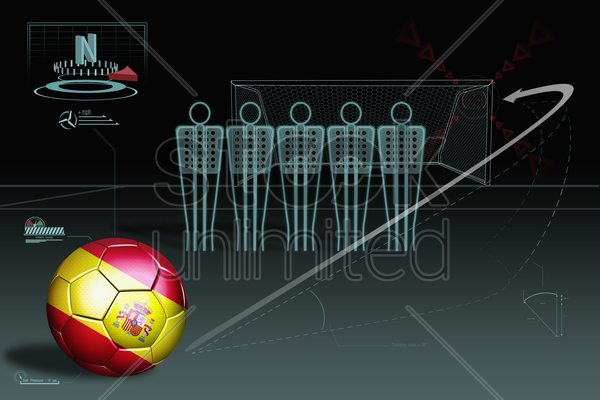 free kick infographic with spain soccer ball stock photo