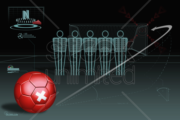 free kick infographic with switzerland soccer ball stock photo