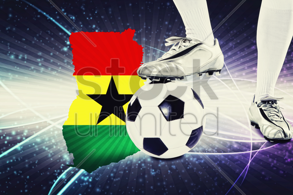 ghana soccer player ready for kick off stock photo