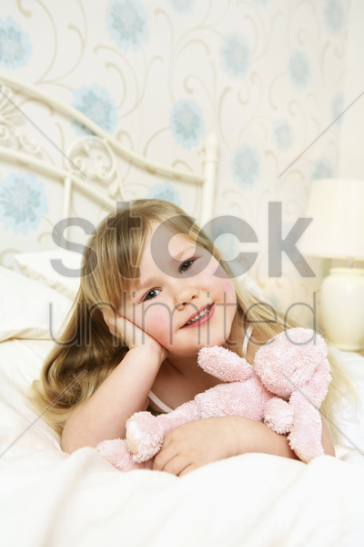 girl getting ready for bedtime stock photo