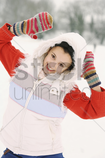 girl getting very excited stock photo