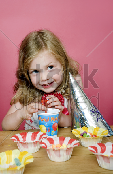 girl in a party stock photo