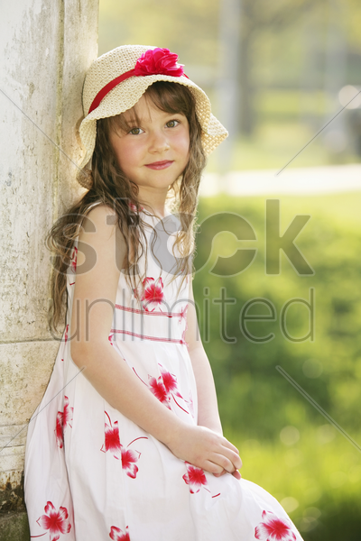 girl posing for the camera stock photo