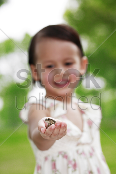 girl with a frog on her palm stock photo