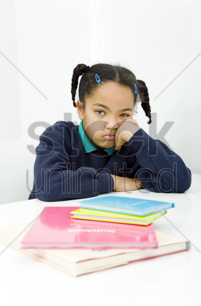 girl with bored look stock photo