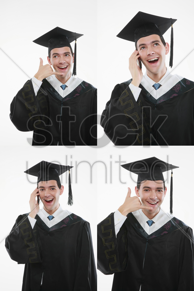 graduate talking on the mobile phone and call me gestures stock photo