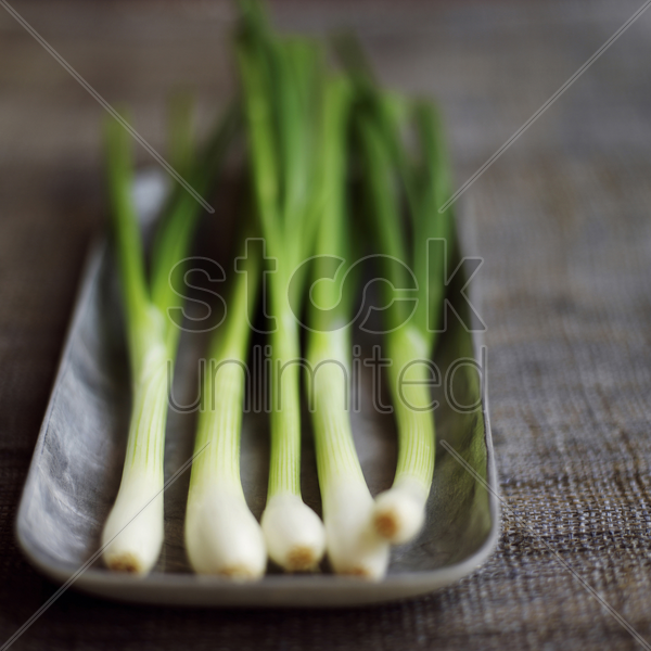 high angle close up of some spring onion stock photo