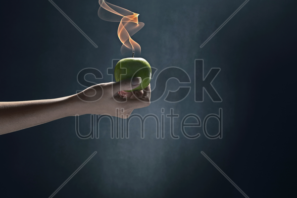 human hand holding a green apple stock photo