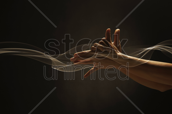 human hand shaped like a dog's head stock photo