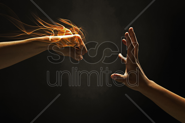 human hands showing punching gesture stock photo