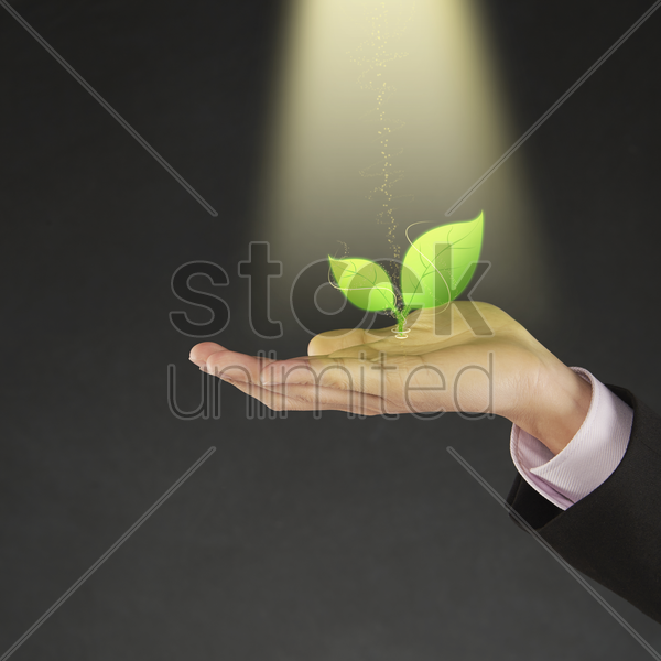 illustration of a plant growing on human palm stock photo