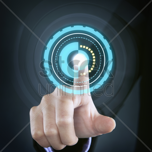 index finger placed in the middle of a circle stock photo