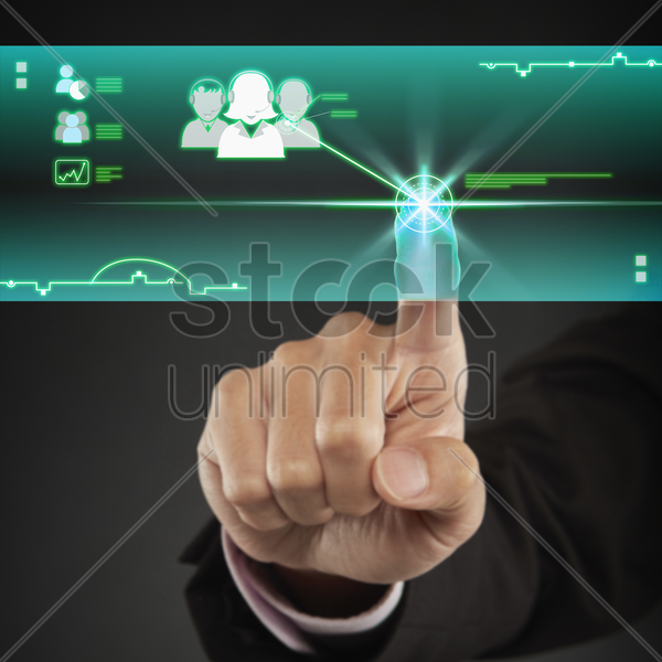 index finger pointing at a customer service icon stock photo