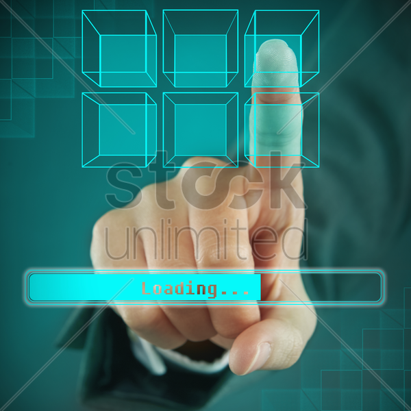 index finger pointing at a digital cube stock photo