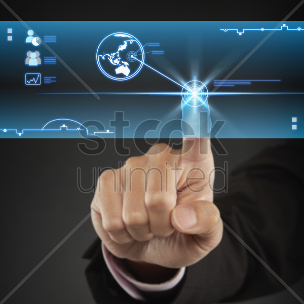 index finger pointing at a digital globe icon stock photo