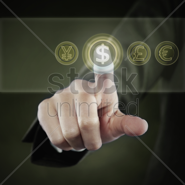 index finger pointing at a dollar symbol stock photo
