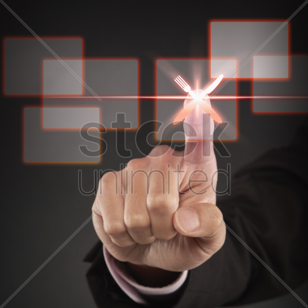 index finger pointing at a food icon stock photo